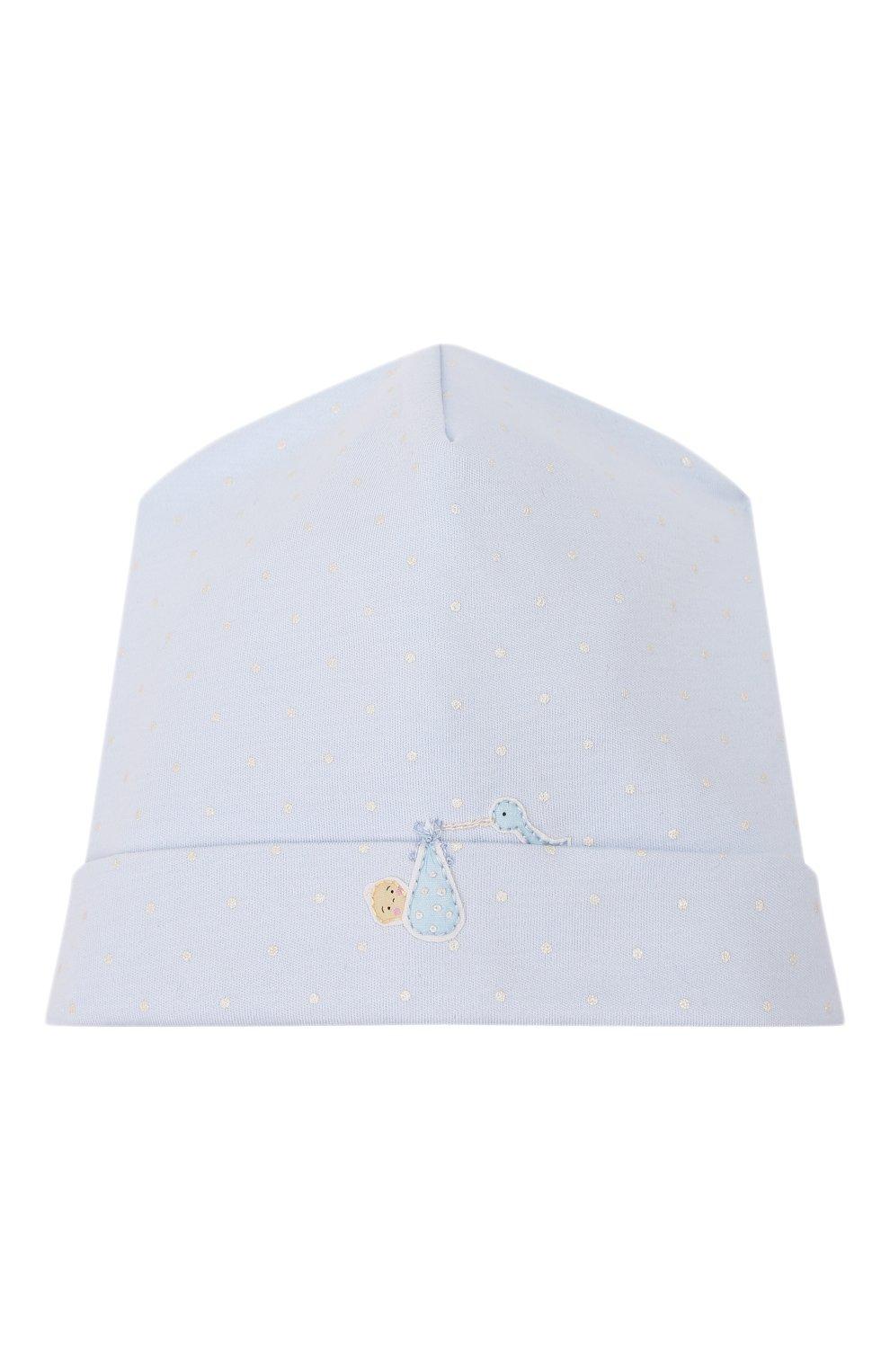 Детского шапка noah's friends MAGNOLIA BABY синего цвета, арт. E109-50P-LB | Фото 1 (Материал: Текстиль, Хлопок; Кросс-КТ НВ: Шапочки-аксессуары)