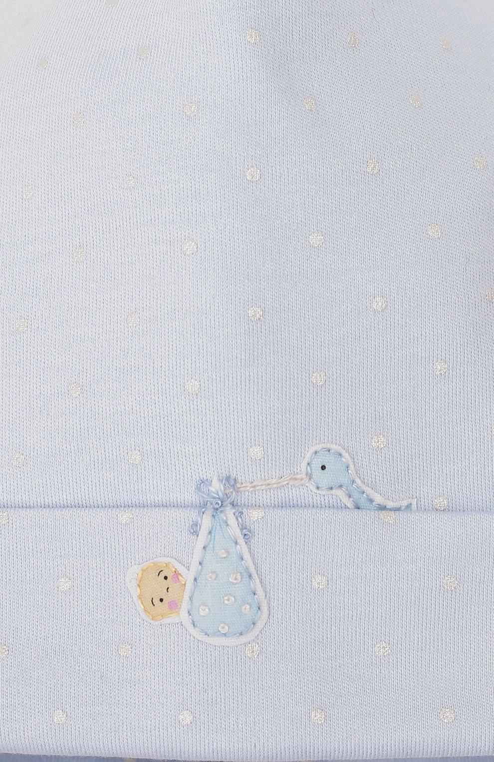 Детского шапка noah's friends MAGNOLIA BABY синего цвета, арт. E109-50P-LB | Фото 3 (Материал: Текстиль, Хлопок; Кросс-КТ НВ: Шапочки-аксессуары)