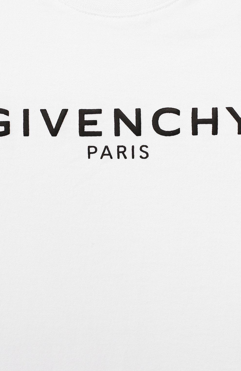 Детский хлопковая футболка GIVENCHY белого цвета, арт. H05116 | Фото 3