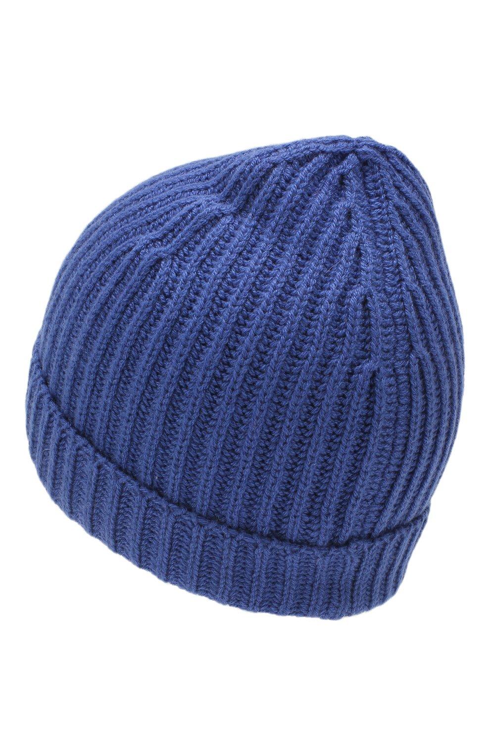 Детского кашемировая шапка LORO PIANA синего цвета, арт. FAF8492 | Фото 2 (Материал: Кашемир, Шерсть)