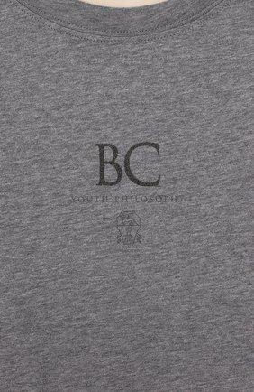 Детская хлопковый лонгслив BRUNELLO CUCINELLI бежевого цвета, арт. B0T617537B | Фото 3