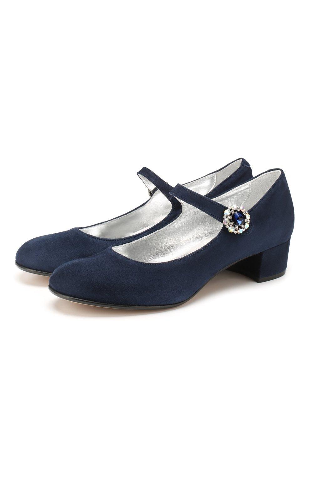 Детские кожаные туфли MISSOURI синего цвета, арт. 78031/27-30 | Фото 1