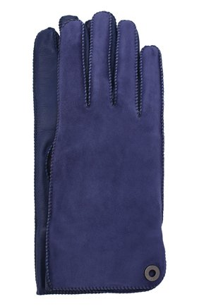 Женские перчатки jacqueline из кожи и замши LORO PIANA синего цвета, арт. FAF8575 | Фото 1