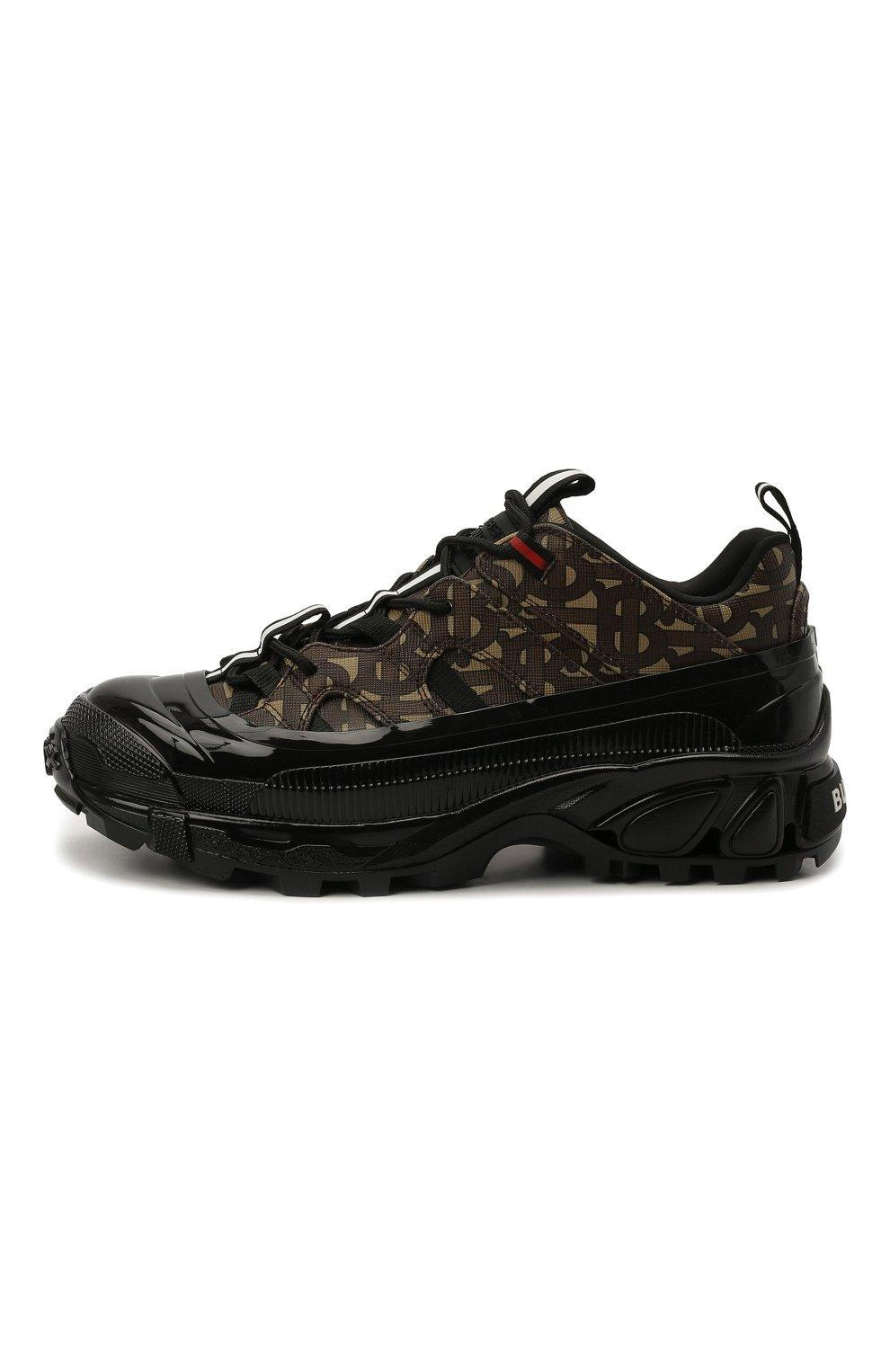 Женские комбинированные кроссовки  BURBERRY коричневого цвета, арт. 8020678 | Фото 4