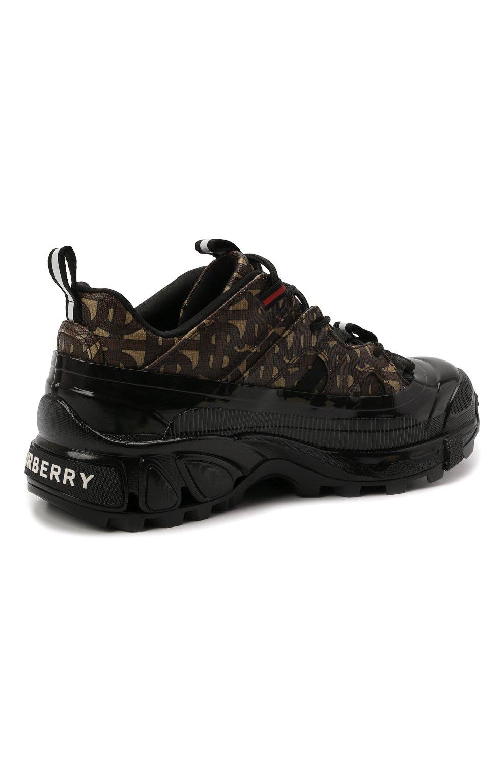 Женские комбинированные кроссовки  BURBERRY коричневого цвета, арт. 8020678 | Фото 5