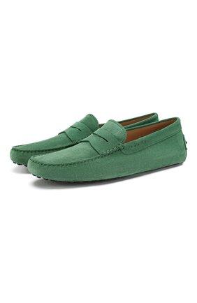 Мужские замшевые мокасины gommini nuovo TOD'S зеленого цвета, арт. XXM0E000010RE0 | Фото 1
