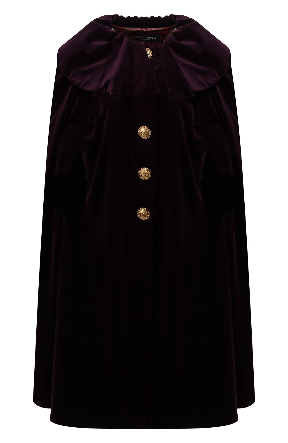Женская бархатный кейп DOLCE & GABBANA фиолетового цвета, арт. F0Y01T/FUWBN | Фото 1