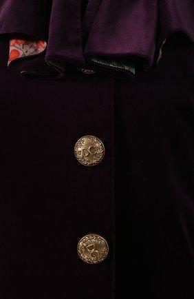 Женская бархатный кейп DOLCE & GABBANA фиолетового цвета, арт. F0Y01T/FUWBN | Фото 5