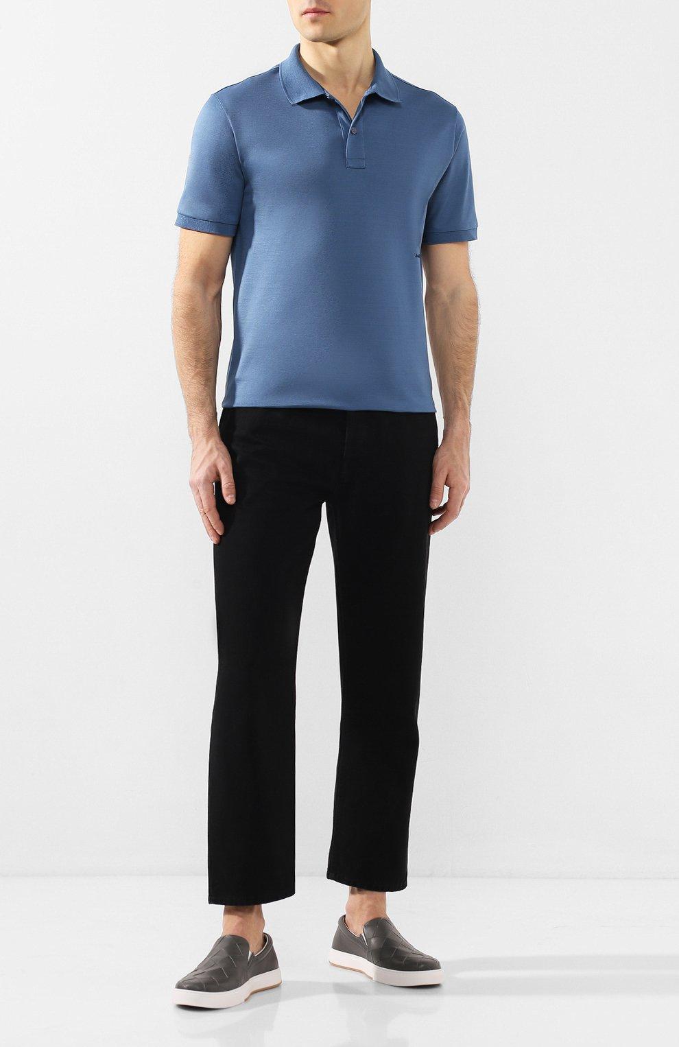 Мужские кожаные слипоны BOTTEGA VENETA серого цвета, арт. 608751/VT031 | Фото 2