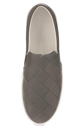 Мужские кожаные слипоны BOTTEGA VENETA серого цвета, арт. 608751/VT031 | Фото 5