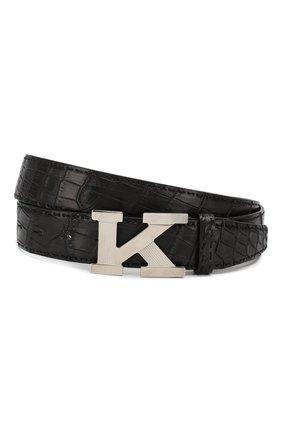 Мужской кожаный ремень KITON черного цвета, арт. USC6PN00102/CNIL | Фото 1