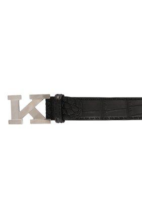 Мужской кожаный ремень KITON черного цвета, арт. USC6PN00102/CNIL | Фото 3