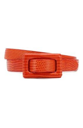 Женский кожаный ремень RALPH LAUREN оранжевого цвета, арт. 408800454 | Фото 1
