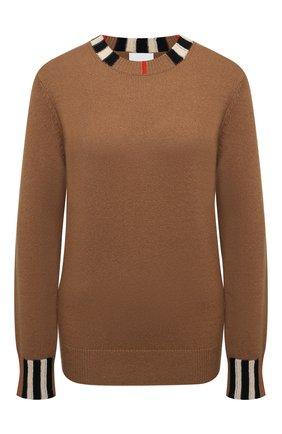 Женская кашемировый пуловер BURBERRY бежевого цвета, арт. 8020391 | Фото 1