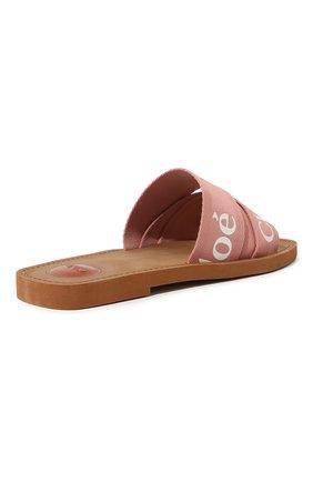 Женские комбинированные шлепанцы woody  CHLOÉ розового цвета, арт. CHC19U18808 | Фото 5