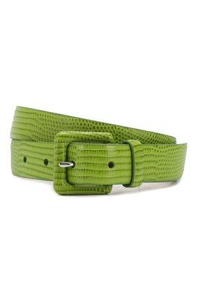 Женский кожаный ремень RALPH LAUREN зеленого цвета, арт. 408800455 | Фото 1