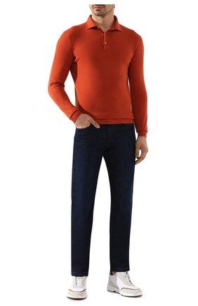 Мужское кашемировое поло LORO PIANA оранжевого цвета, арт. FAF8291 | Фото 2
