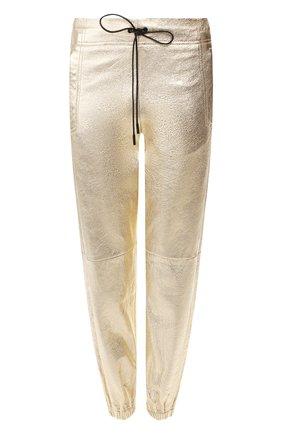 Женские кожаные джоггеры SAINT LAURENT золотого цвета, арт. 548244/YC2CE | Фото 1