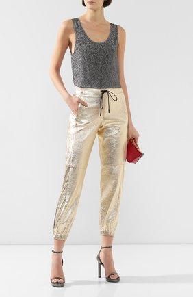 Женские кожаные джоггеры SAINT LAURENT золотого цвета, арт. 548244/YC2CE | Фото 2