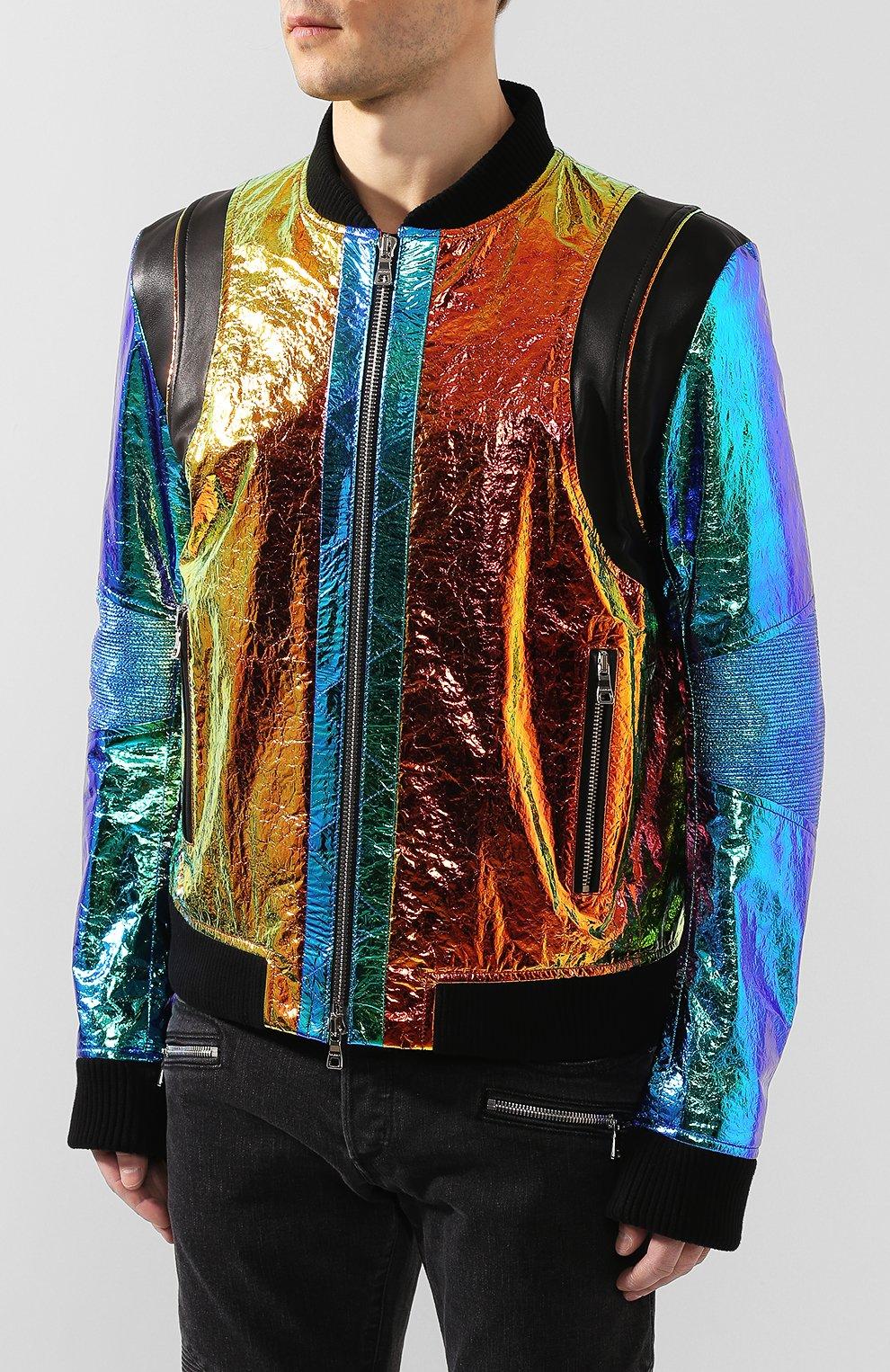 Мужской кожаный бомбер BALMAIN разноцветного цвета, арт. TH08680/Z361 | Фото 3