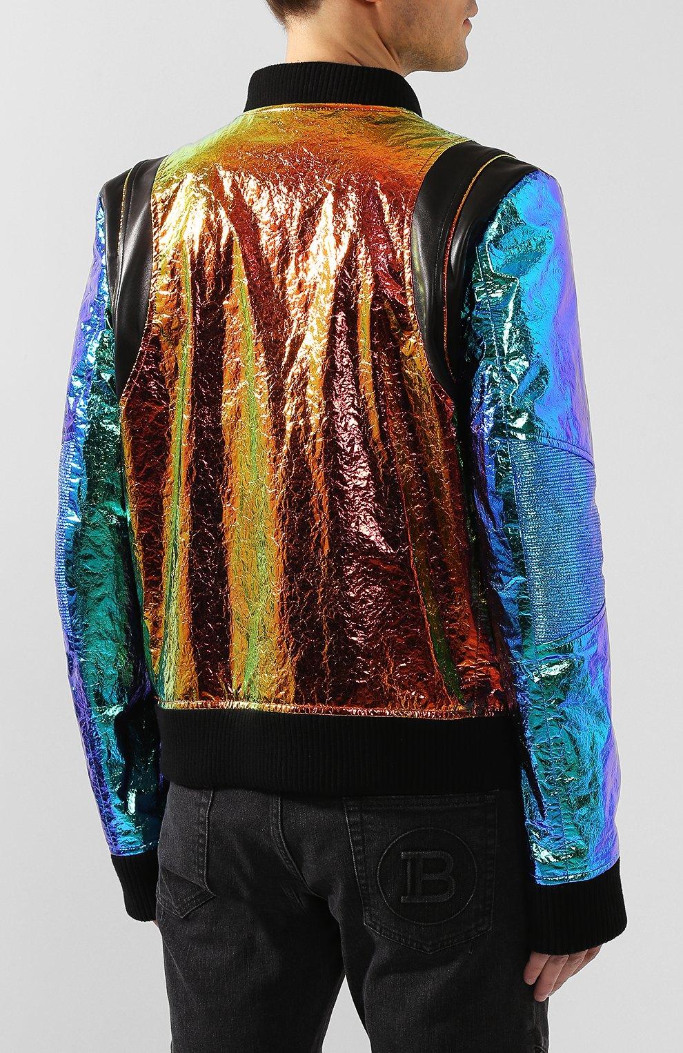 Мужской кожаный бомбер BALMAIN разноцветного цвета, арт. TH08680/Z361 | Фото 4