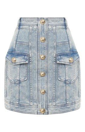 Женская джинсовая юбка BALMAIN голубого цвета, арт. TF14013/D005 | Фото 1