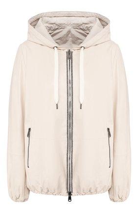 Женская кожаная куртка BRUNELLO CUCINELLI белого цвета, арт. MPBIS8901 | Фото 1
