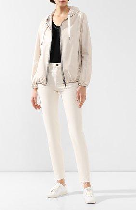 Женская кожаная куртка BRUNELLO CUCINELLI белого цвета, арт. MPBIS8901 | Фото 2