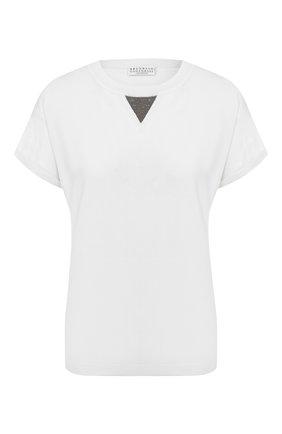 Женская топ из смеси шерсти и кашемира BRUNELLO CUCINELLI белого цвета, арт. M14814520   Фото 1