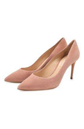 Женская замшевые туфли julia CASADEI светло-розового цвета, арт. 1F120D0801CAM0S3401 | Фото 1
