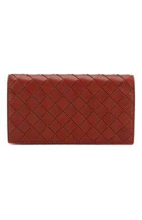 Женские кожаный кошелек BOTTEGA VENETA кораллового цвета, арт. 600873/VCPP3 | Фото 1