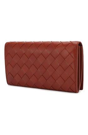 Женские кожаный кошелек BOTTEGA VENETA кораллового цвета, арт. 600873/VCPP3 | Фото 2
