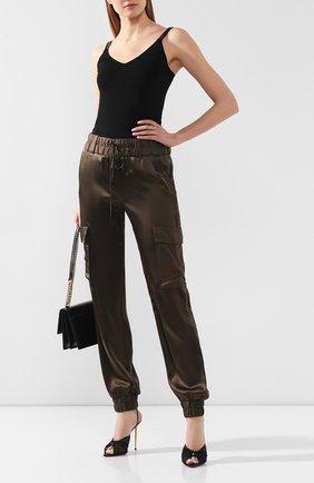 Женские шелковые джоггеры TOM FORD хаки цвета, арт. PAW299-FAX623 | Фото 2