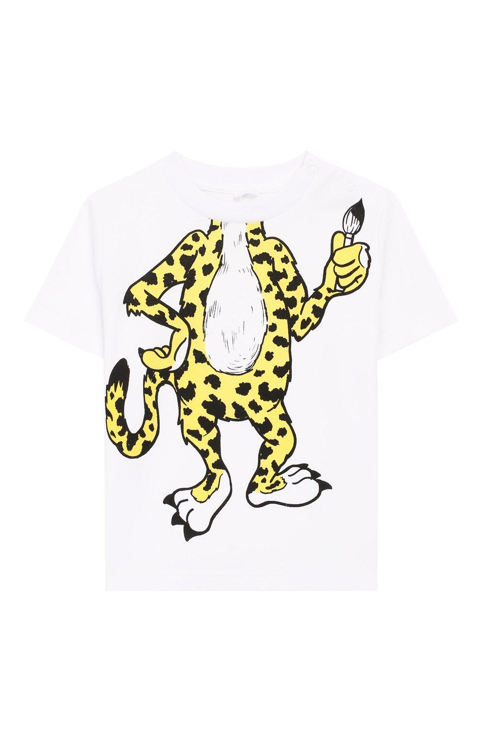 Детский хлопковая футболка STELLA MCCARTNEY белого цвета, арт. 588361/S0J66   Фото 1 (Рукава: Короткие; Материал внешний: Хлопок; Статус проверки: Проверена категория)
