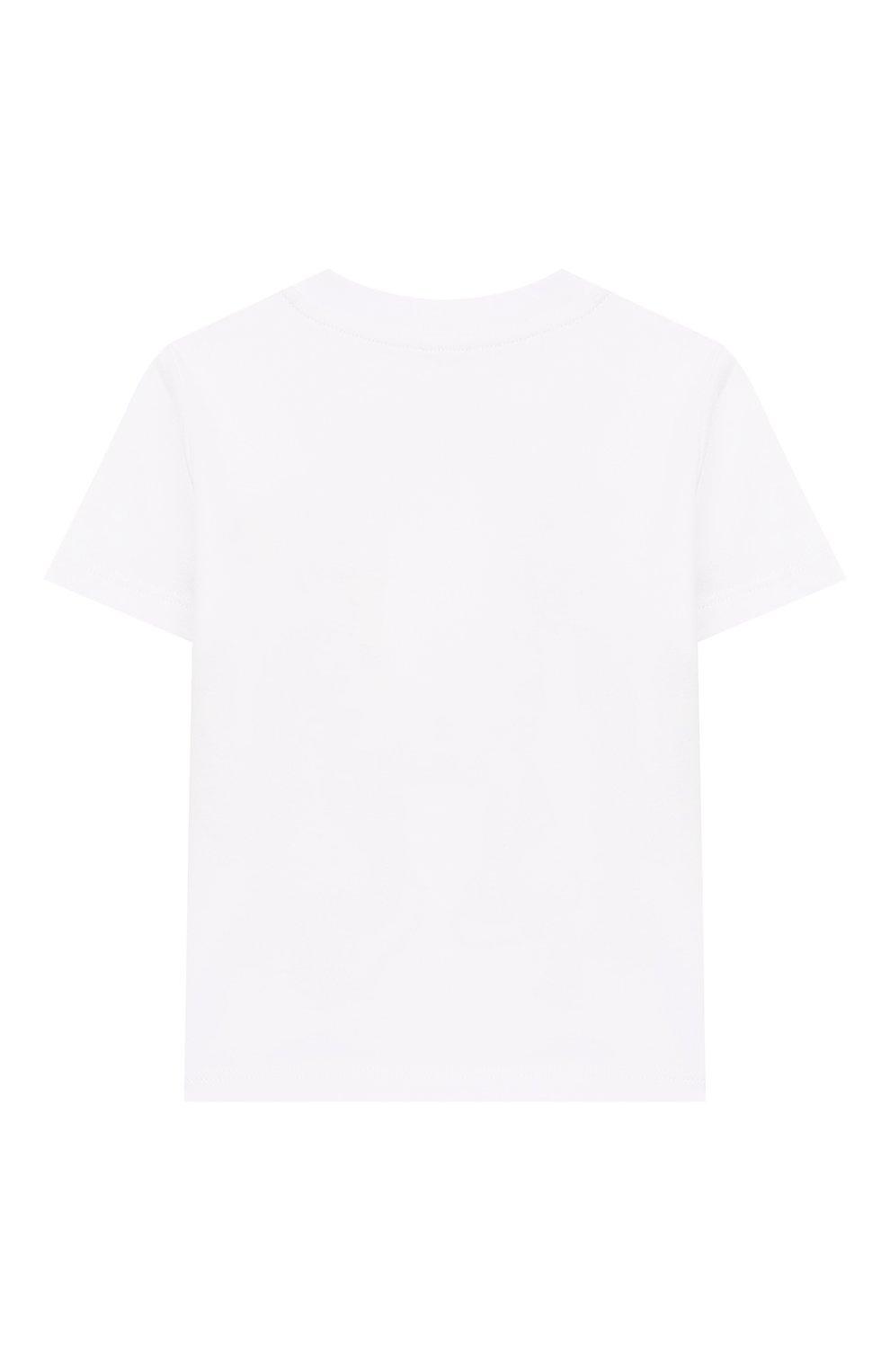 Детский хлопковая футболка STELLA MCCARTNEY белого цвета, арт. 588361/S0J66   Фото 2 (Рукава: Короткие; Материал внешний: Хлопок; Статус проверки: Проверена категория)