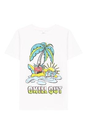Детская хлопковая футболка STELLA MCCARTNEY белого цвета, арт. 588484/S0J98 | Фото 1