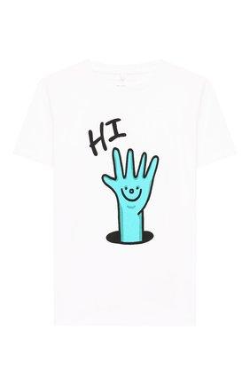 Детская хлопковая футболка STELLA MCCARTNEY белого цвета, арт. 588484/S0J99 | Фото 1