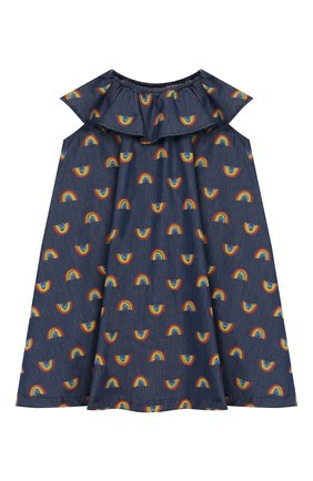 Детское хлопковое платье STELLA MCCARTNEY синего цвета, арт. 589367/S0K82   Фото 1