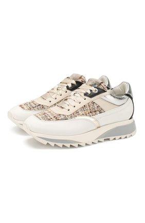 Женские комбинированные кроссовки  SANTONI бежевого цвета, арт. WBFW60646BGRXRSTI22 | Фото 1