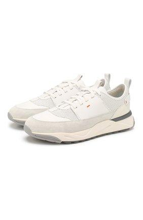 Мужские кожаные кроссовки SANTONI белого цвета, арт. MBI021274BGRXJUMI20 | Фото 1