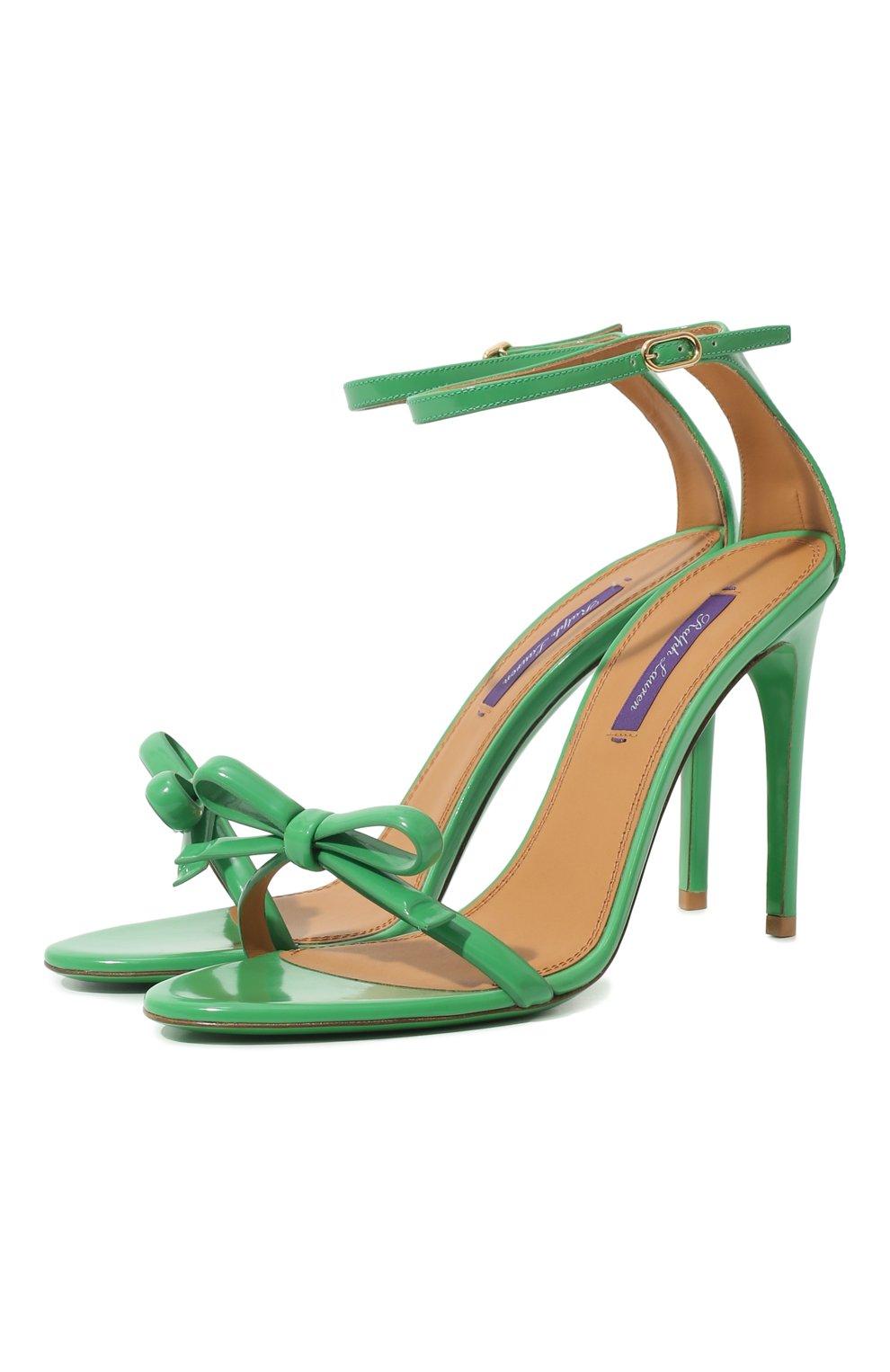 Женские кожаные босоножки RALPH LAUREN зеленого цвета, арт. 800791824 | Фото 1