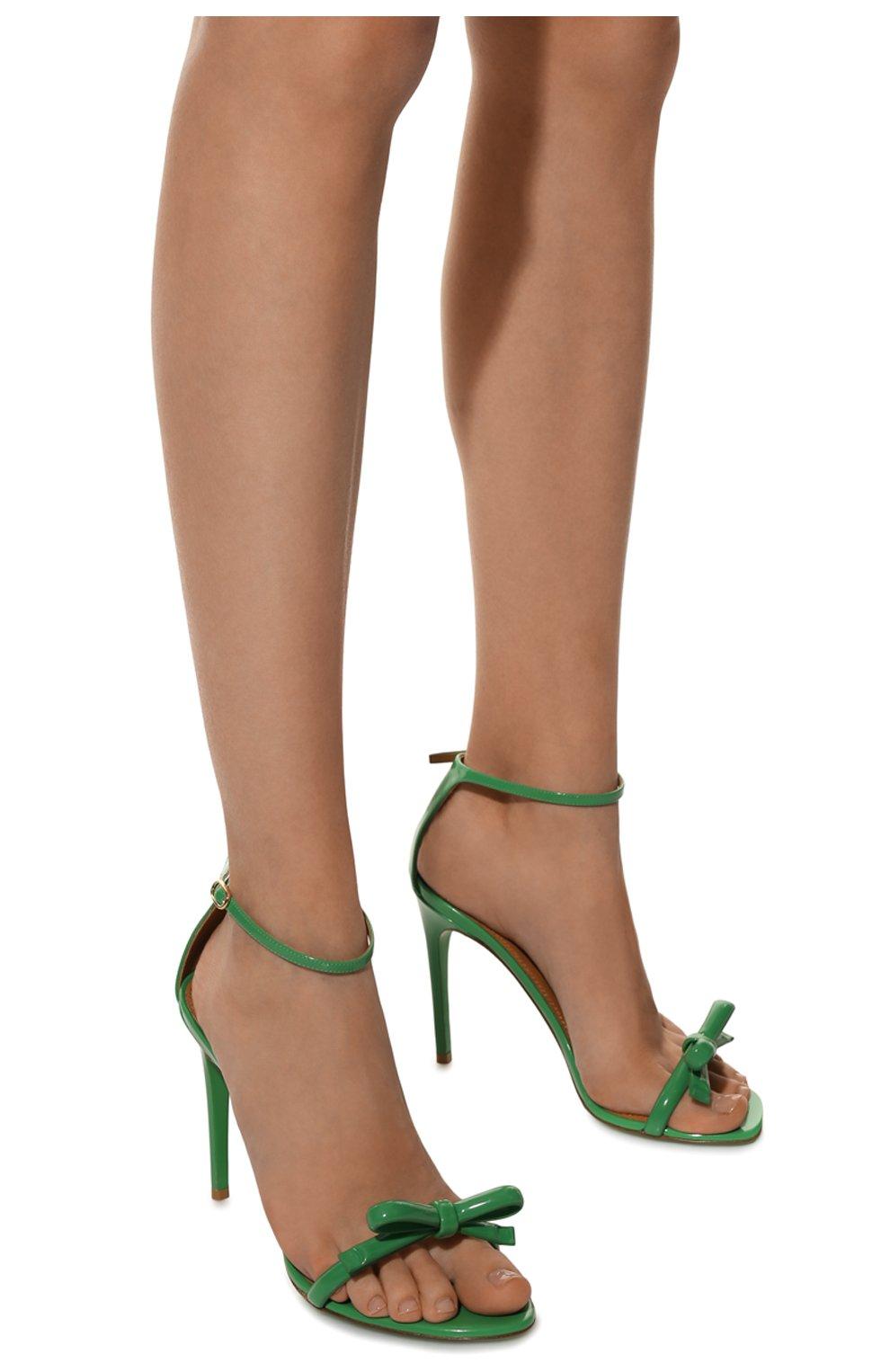Женские кожаные босоножки RALPH LAUREN зеленого цвета, арт. 800791824 | Фото 3