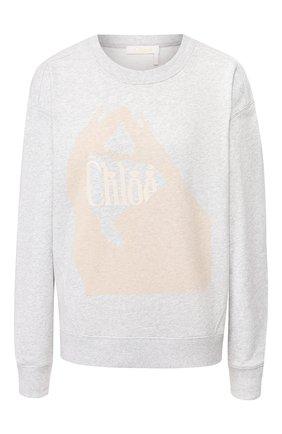 Женская хлопковый свитшот CHLOÉ серого цвета, арт. CHC20SJH01085 | Фото 1