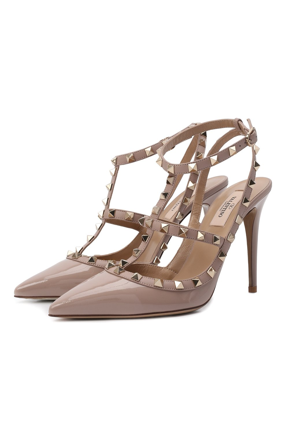 Женские кожаные туфли valentino garavani rockstud VALENTINO бежевого цвета, арт. TW2S0393/VNW | Фото 1