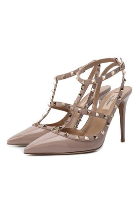 Женская кожаные туфли valentino garavani rockstud VALENTINO бежевого цвета, арт. TW2S0393/VNW | Фото 1
