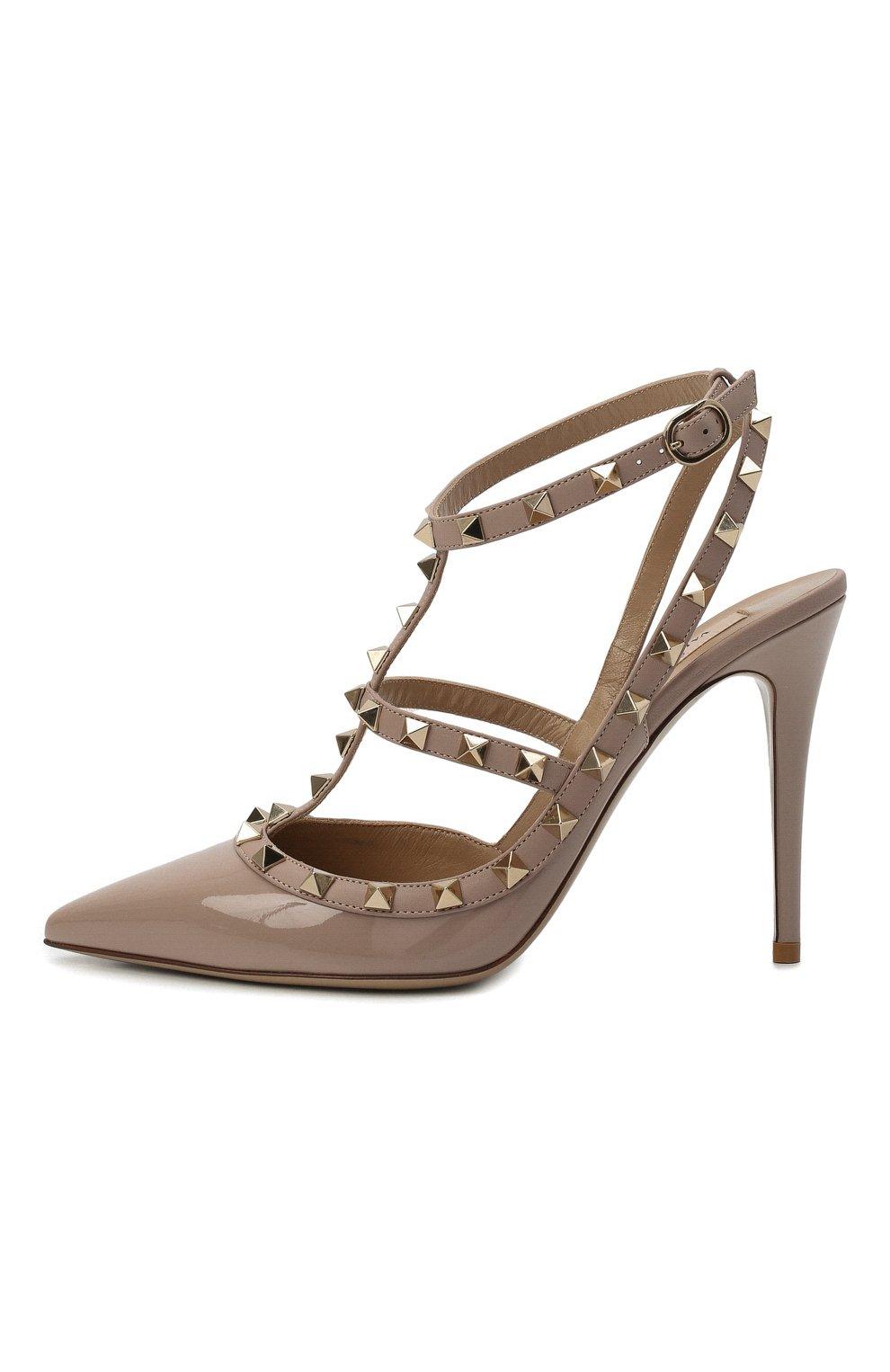 Женские кожаные туфли valentino garavani rockstud VALENTINO бежевого цвета, арт. TW2S0393/VNW | Фото 4
