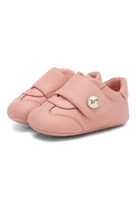 Детского кожаные пинетки DOLCE & GABBANA светло-розового цвета, арт. DK0109/A1293/16 | Фото 1