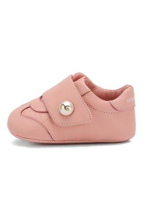 Детского кожаные пинетки DOLCE & GABBANA светло-розового цвета, арт. DK0109/A1293/16 | Фото 2