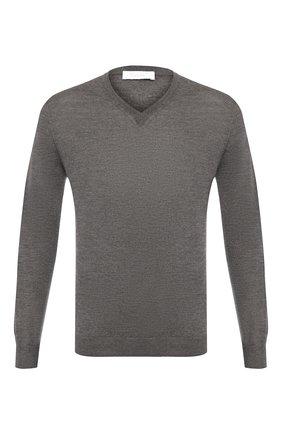 Мужской пуловер из смеси кашемира и шелка CRUCIANI темно-серого цвета, арт. CU487B.V03F6V | Фото 1