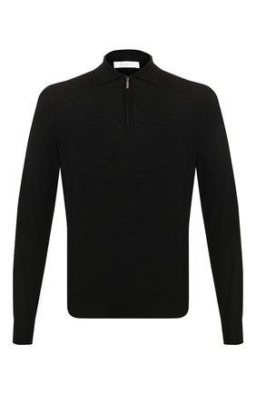 Мужское шерстяное поло  CRUCIANI черного цвета, арт. CU164B.PZ1F6V | Фото 1